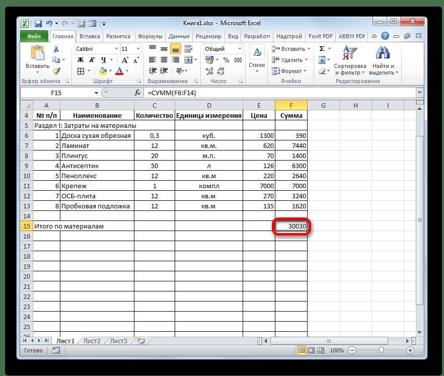 Расчет автосуммы в Microsoft Excel произведен