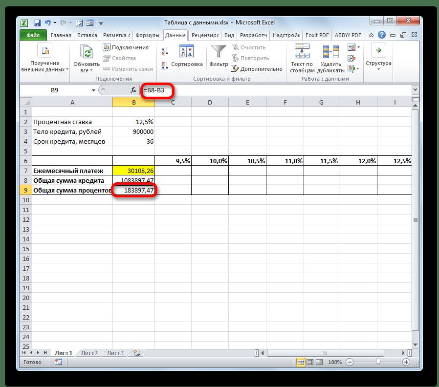 Расчет суммы процентов в Microsoft Excel