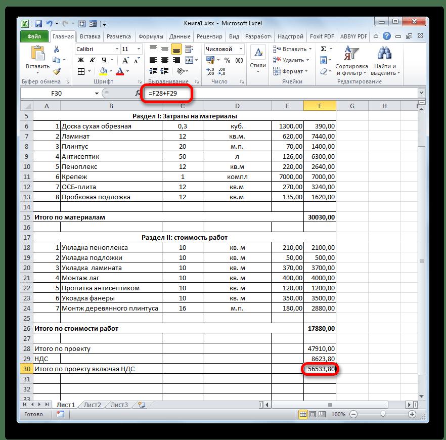 Результат расчета общих затрат по проекту включая НДС в Microsoft Excel