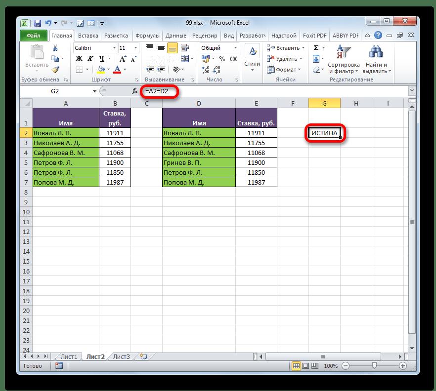 Результат сранения первой строки двух таблиц в Microsoft Excel