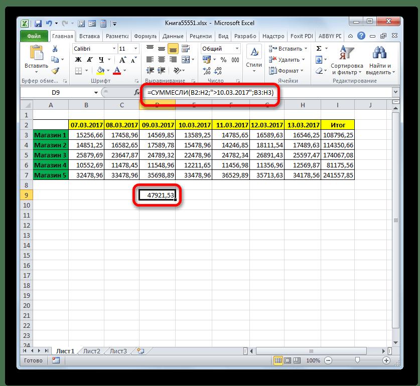 Результат вычисления функции СУММЕСЛИ в Microsoft Excel