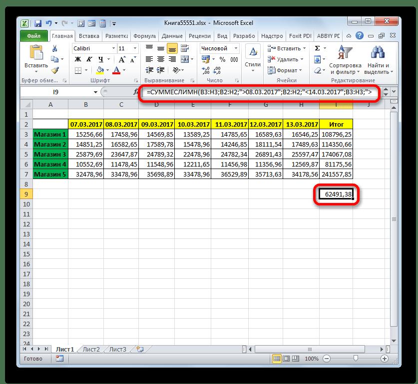 Результат вычисления функции СУММЕСЛИМН в Microsoft Excel