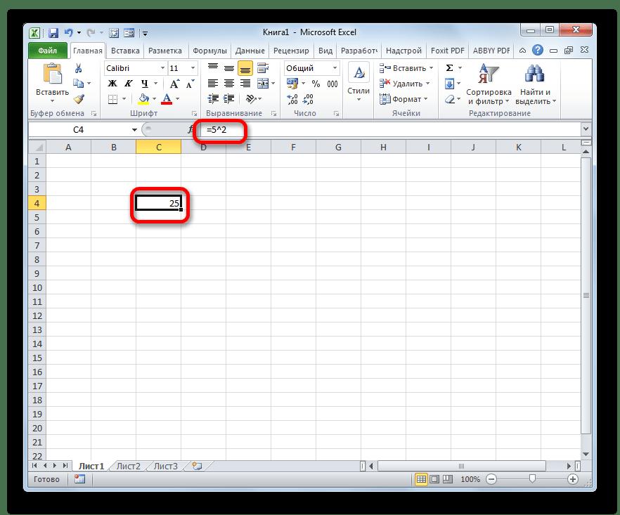 Результат вычисления квадрата числа с помощью формулы в Microsoft Excel