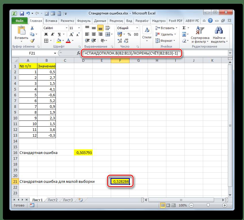 Результат вычисления стандартной ошибки для малой выборки в Microsoft Excel