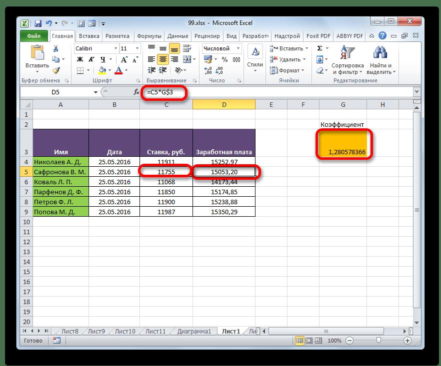 Скопирорванная формула со смешанной ссылкой в программе Microsoft Excel