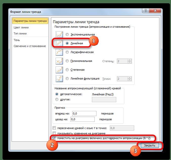 Смена типа линии тренда в окне формат линии тренда в Microsoft Excel