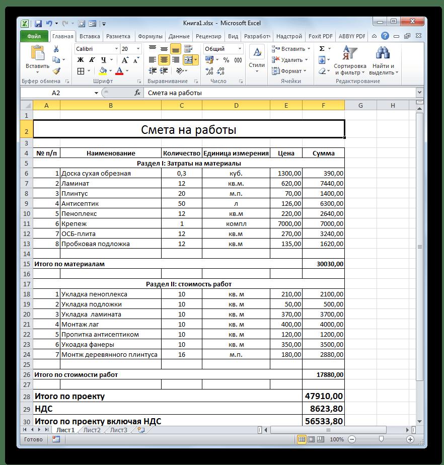Смета готова в Microsoft Excel