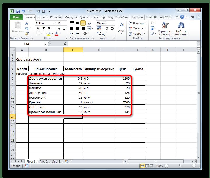 Смета заполнена первичными данными по затратам на материал в Microsoft Excel