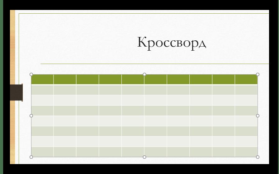 Стандартная наглядная таблица в PowerPoint