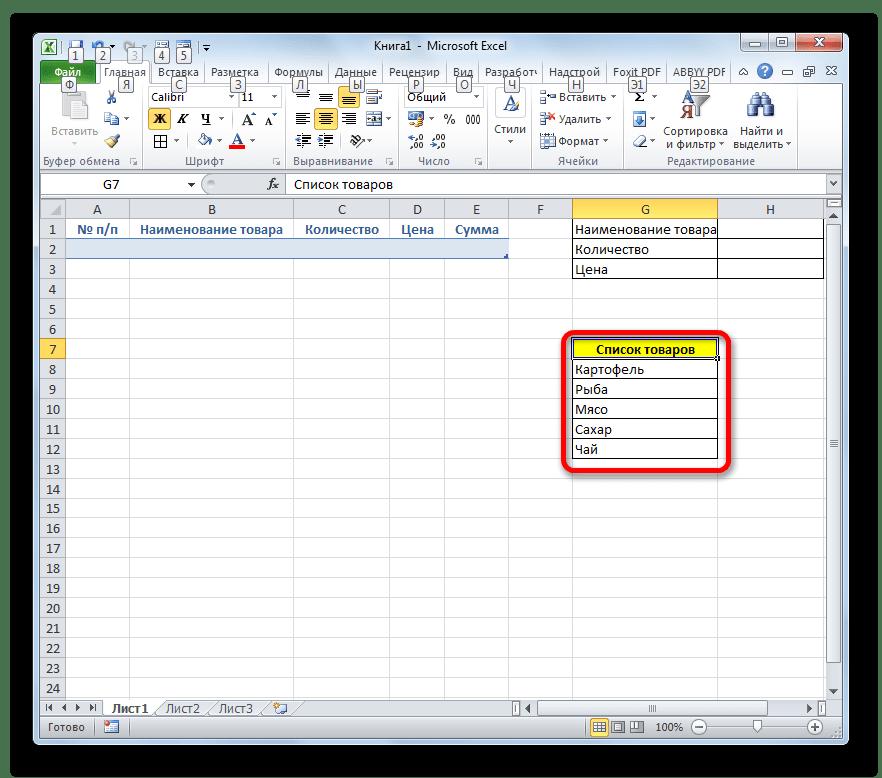 Таблица со списком товаров в Microsoft Excel