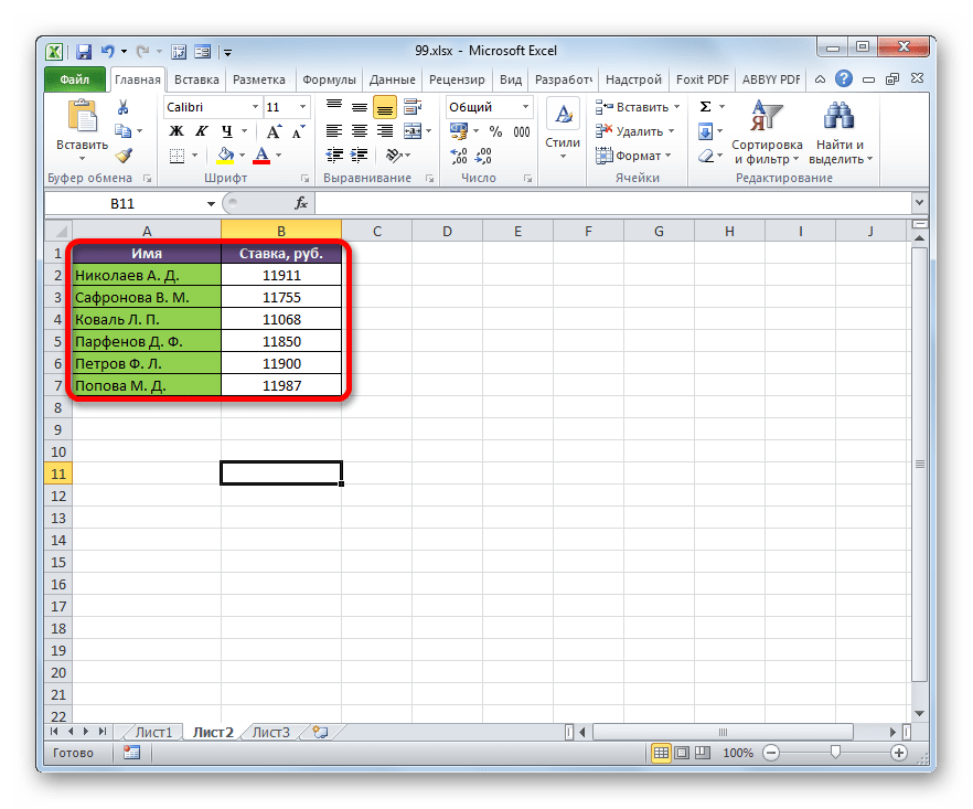 Таблица со ставками сотрудников в Microsoft Excel