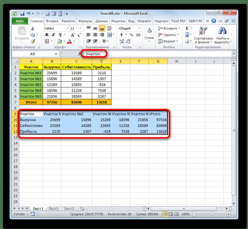 Транспонированный диапазон преобразован в значения в Microsoft Excel