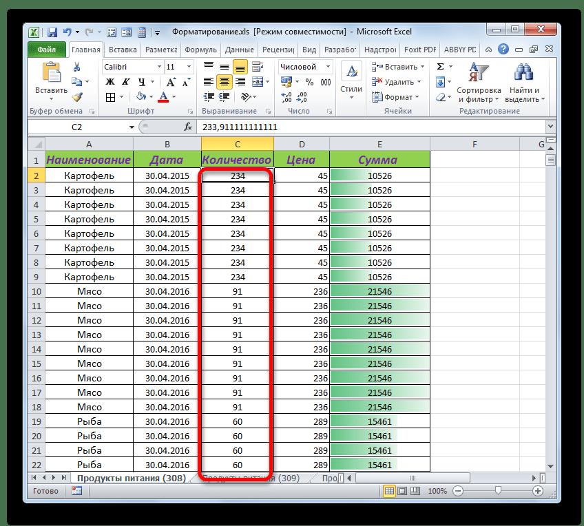 Условное форматирование удалено в Microsoft Excel
