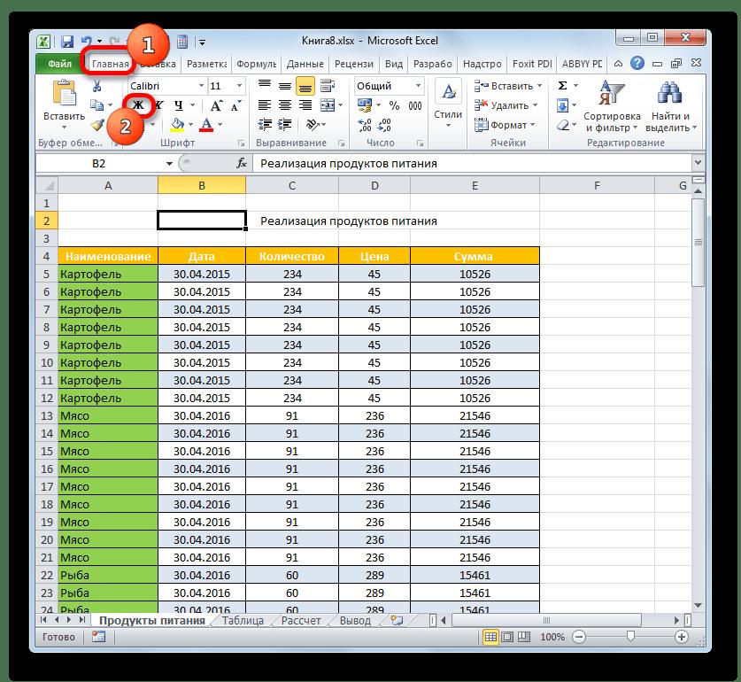 Включение полужирного шрифта в Microsoft Excel