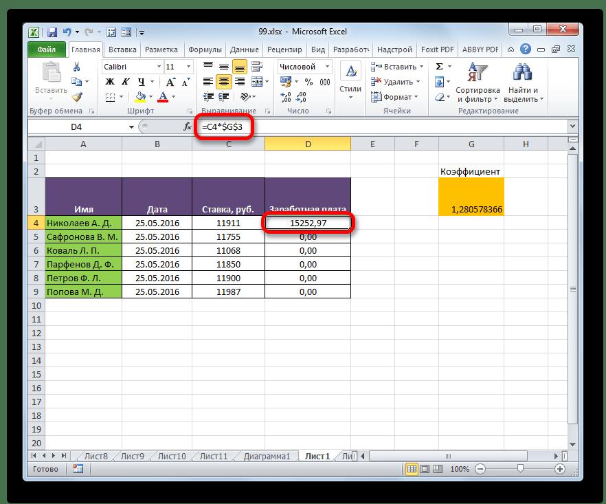 Второй множитель имеет абсолютную адресацию в Microsoft Excel
