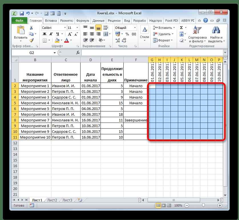 Выделение диапазона ячеек на шкале времени в Microsoft Excel