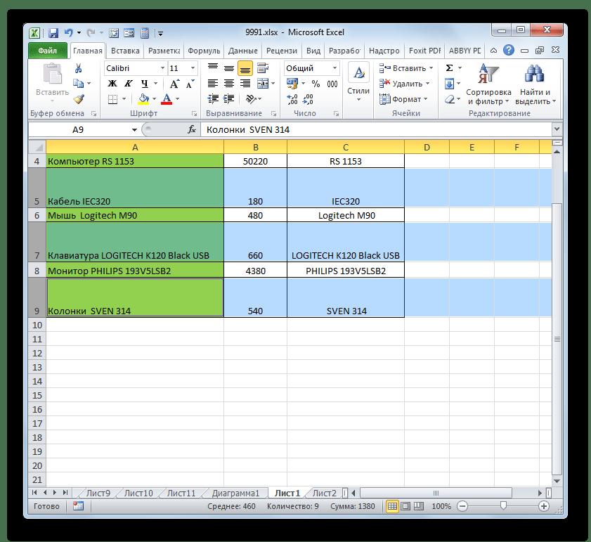 Высота группы ячеек путем перетаскивания изменена в Microsoft Excel