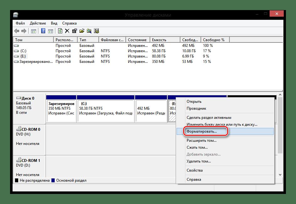 Windows 8 Управление дисками Форматировать