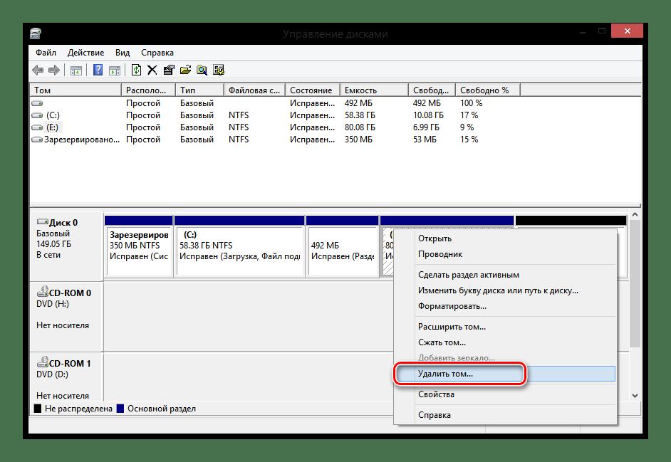 Windows 8 Управление дисками Удалить том