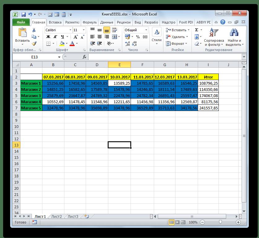 Ячейки отформатированы согласно условию в программе Microsoft Excel