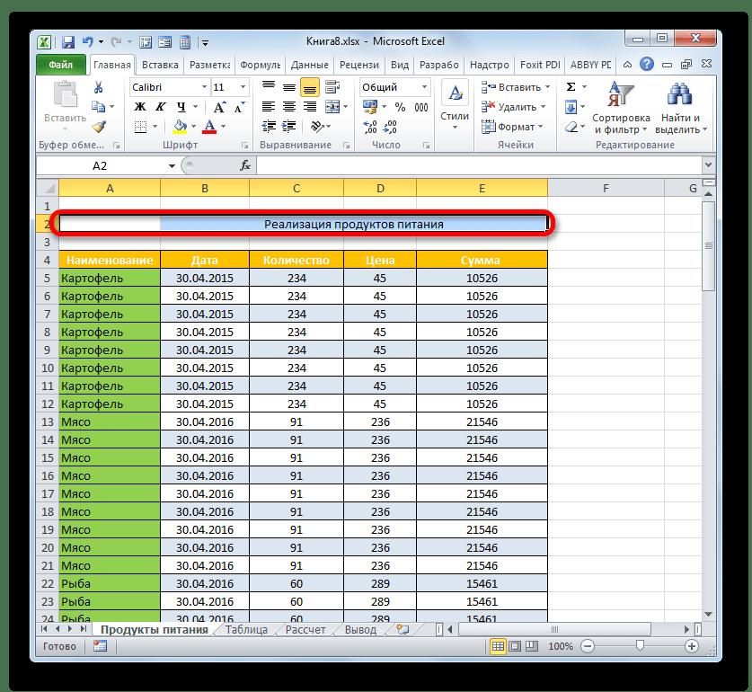 Заголовок выровнян по центру таблицы в Microsoft Excel