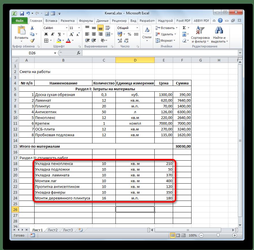 Запорлнение данными Раздела II сметы в Microsoft Excel