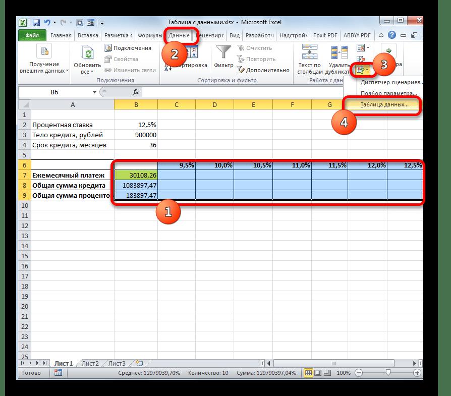 Запуск инструмента Таблица данных в Microsoft Excel