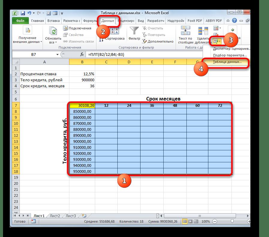 Запуск инструмента Таблица данных в программе Microsoft Excel