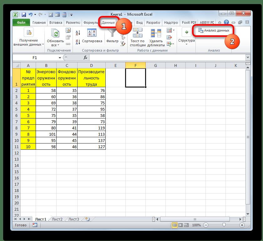 Запуск пакета анализа в Microsoft Excel