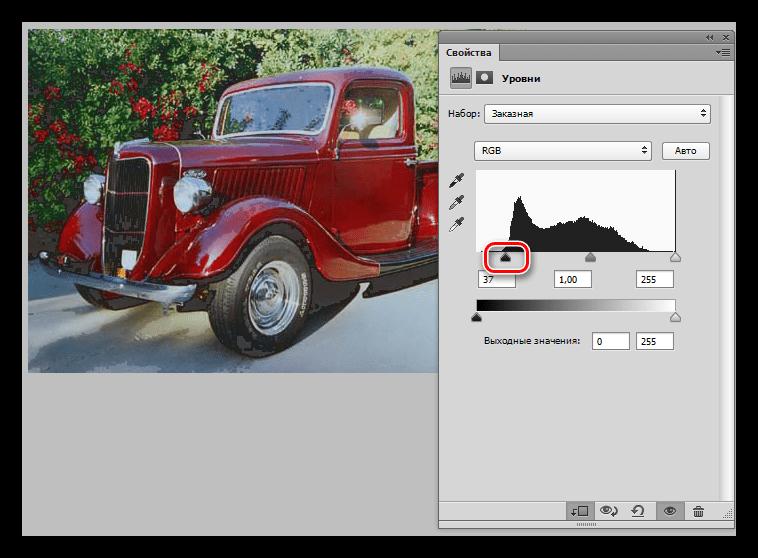 Затемнение теней при помощи корректирующего слоя Уровни при инвертировании маски в Фотошопе