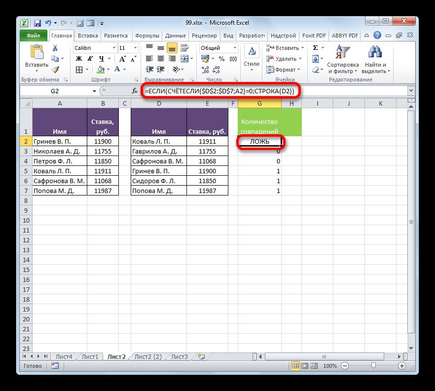 Значение ЛОЖЬ формулы ЕСЛИ в Microsoft Excel