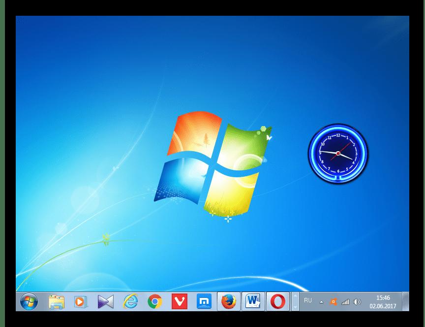 Часы на рабочем столе перемещены в Windows 7