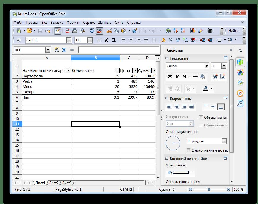 Файл с расширением ODS открыт в программе Apache OpenOffice Calc