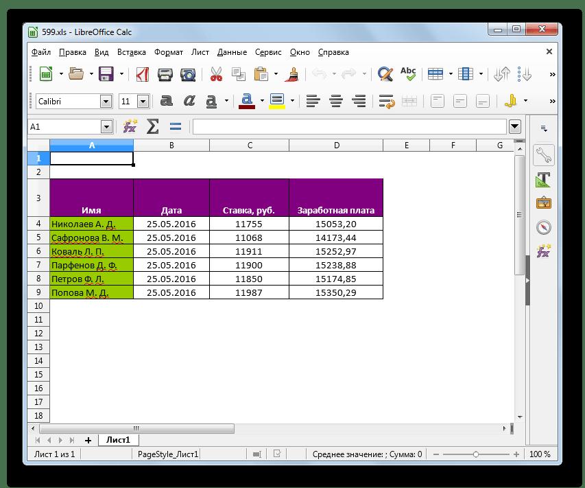 Файл в формате XLS открыт в LibreOffice Calc