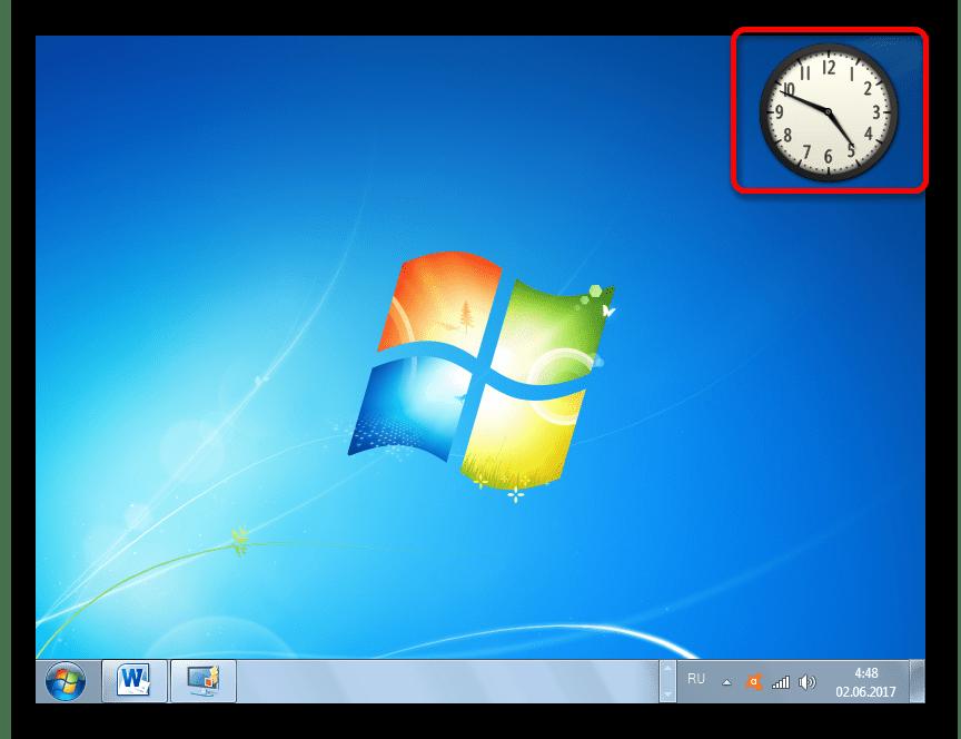 Гаджет часов на рабочем столе в Windows 7