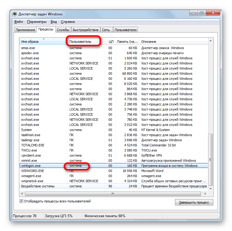 Имя пользователя процесса WINLOGON.EXE в Диспетчере задач Windows