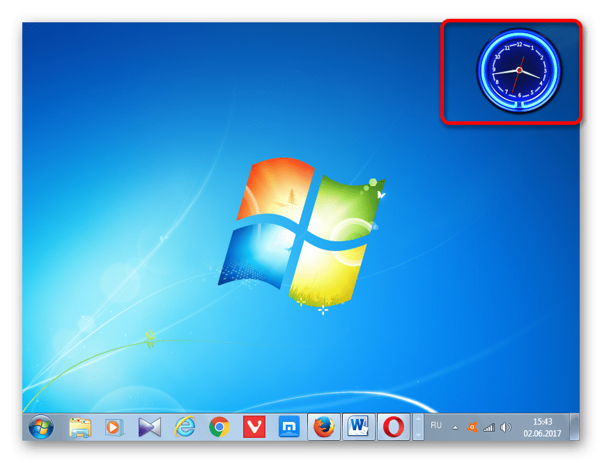 Интерфейс часов изменен в Windows 7