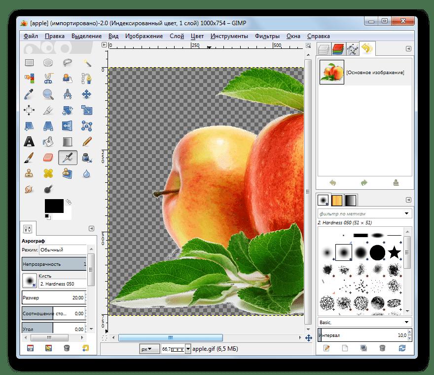 Изображение формата GIF открыто в программе GIMP