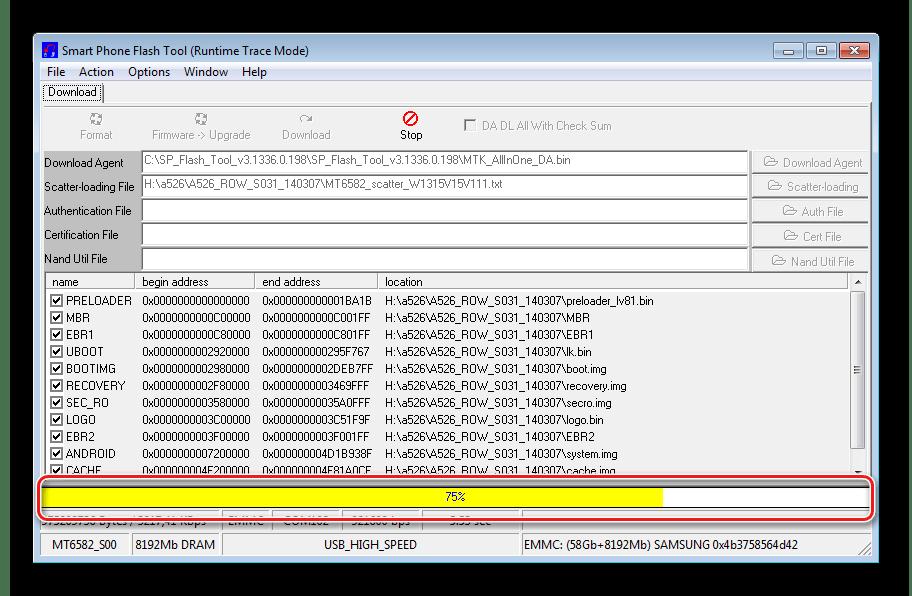 Lenovo A526 SP Flashtool процесс прошивки
