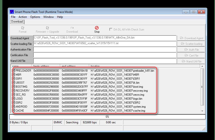 Lenovo A526 SP Flashtool скаттер загружен