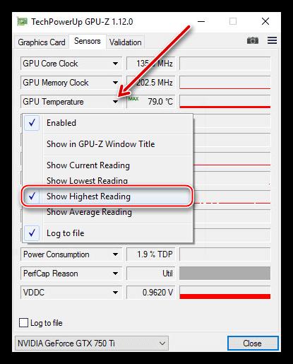 Мониторинг максимальной температуры графическго процессора в утилите GPU-Z