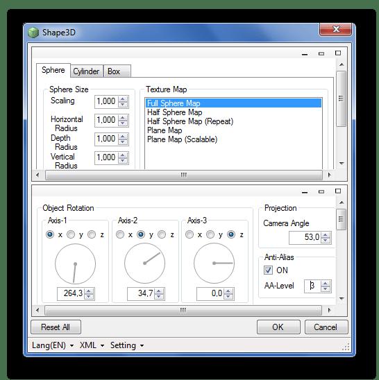 Настройки Shape3D в Paint.NET