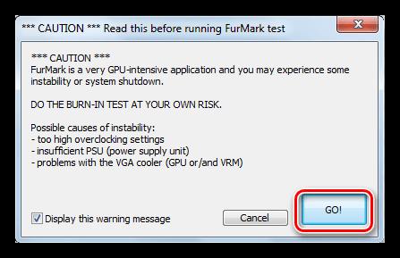 Окно предупреждения после запуска стресс-теста графического процессора в программе Furmark