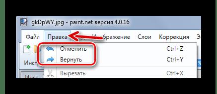 Отмена или возврат действия в Paint.NET