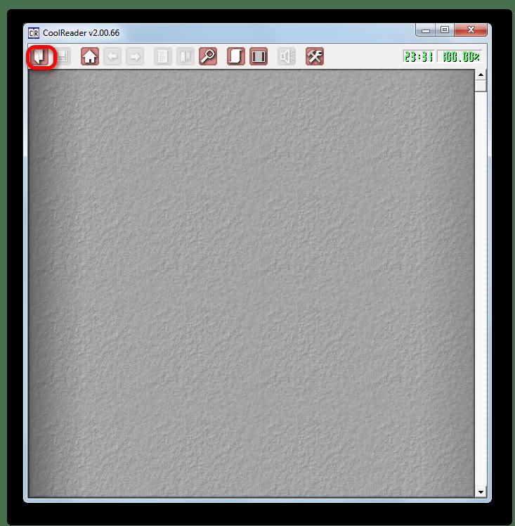 Переход в окно открытия файла через горизонтальное меню в программе CoolReader