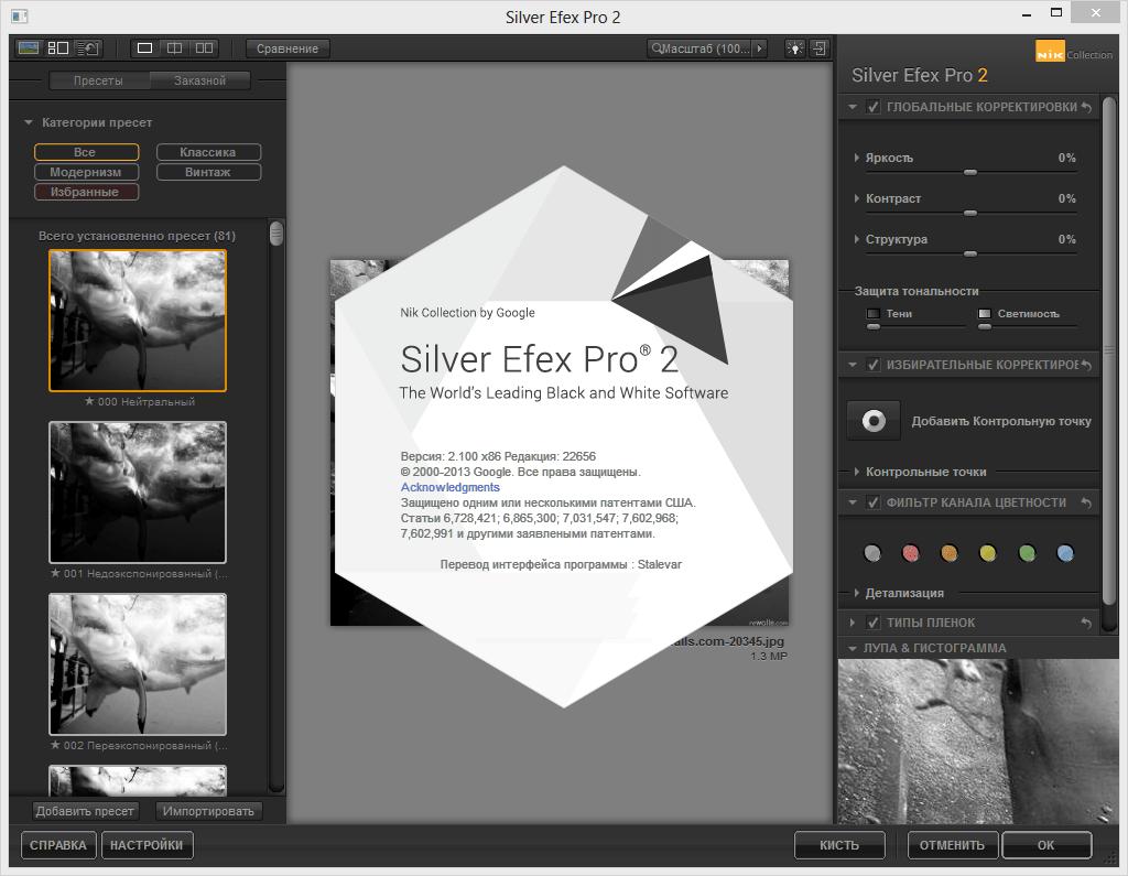 Плагин Silver Efex Pro для Lightroom