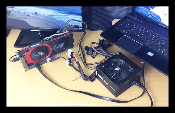 Блок питания укомплектованный необходимым разъемом для подключения внешней видеокарты к ноутбуку