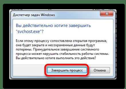 Подтверждение завершения процесса SVCHOST.EXE