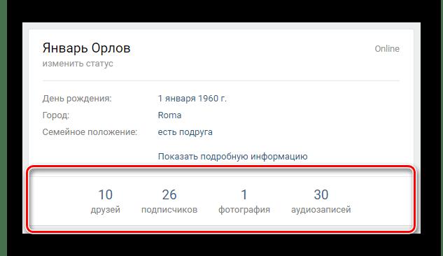 Поиск панели со статистикой аккаунта на персональной странице ВКонтакте