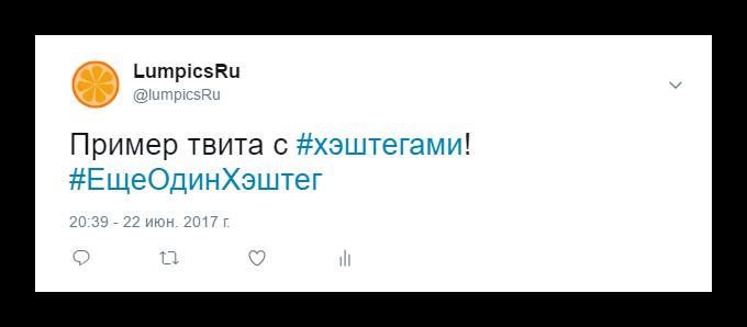 Пример твита с хэштегами в сервисе микроблогов Twitter